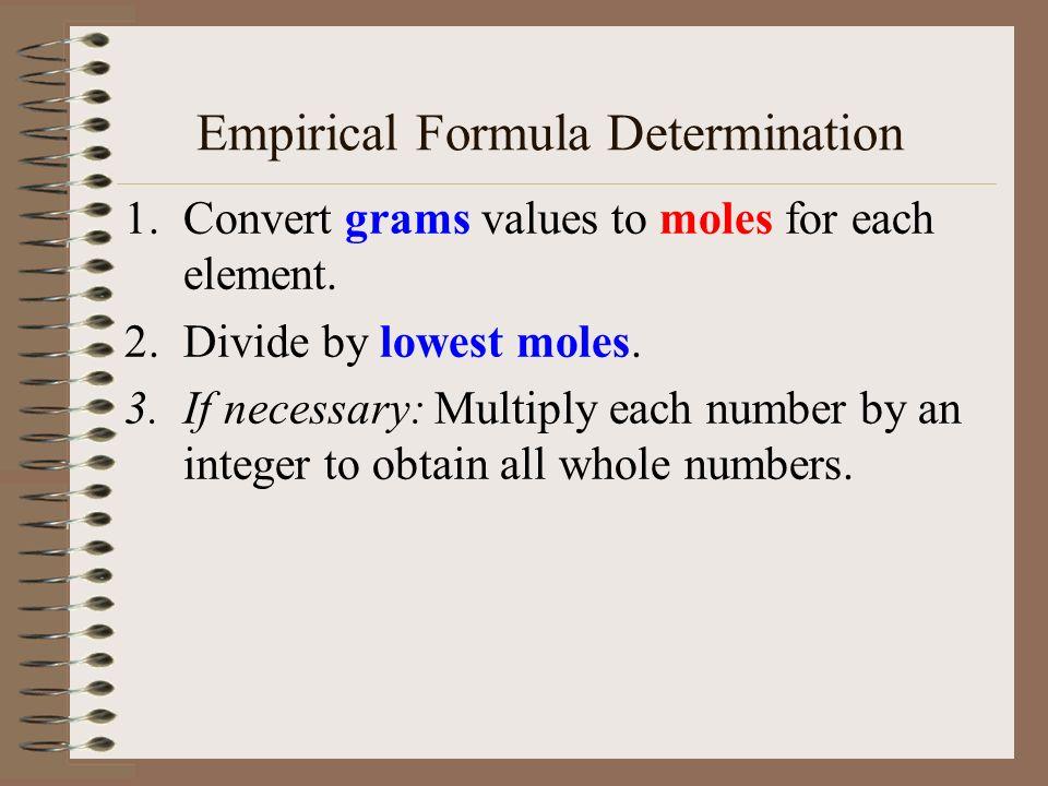 Formulas (continued) Formulas for molecular compounds MIGHT be empirical (lowest whole number ratio). Molecular: H2OH2O C 6 H 12 O 6 C 12 H 22 O 11 Em
