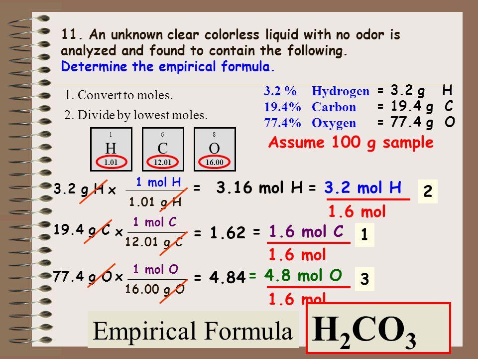 6.4 g S = 32.07 g S 1 mol S x 0.1995 mol S = 0.20 mol S 6.4 g O = 0.4 = 0.40 mol O 16.00 g O 1 mol O x 10. A 12.8 g sample of a gas contains 6.4 grams