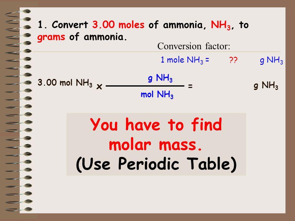1. Convert 3.00 moles of ammonia, NH 3, to grams of ammonia.