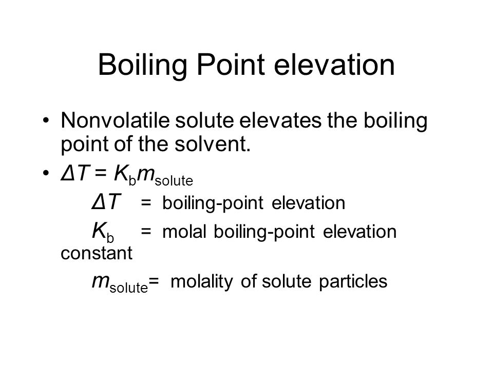 Raoults Law - ideal solution Ideal solution occurs with a nonvolatile solute in solution Also the vapor pressure is then proportional to the mole frac