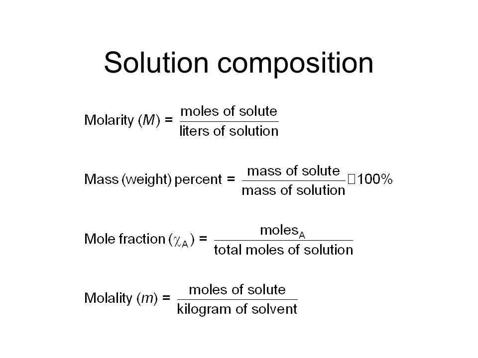 Various Types of Solutions Example State of Solution State of Solute State of Solvent Air, natural gasGas Vodka, antifreezeLiquid BrassSolid Carbonate