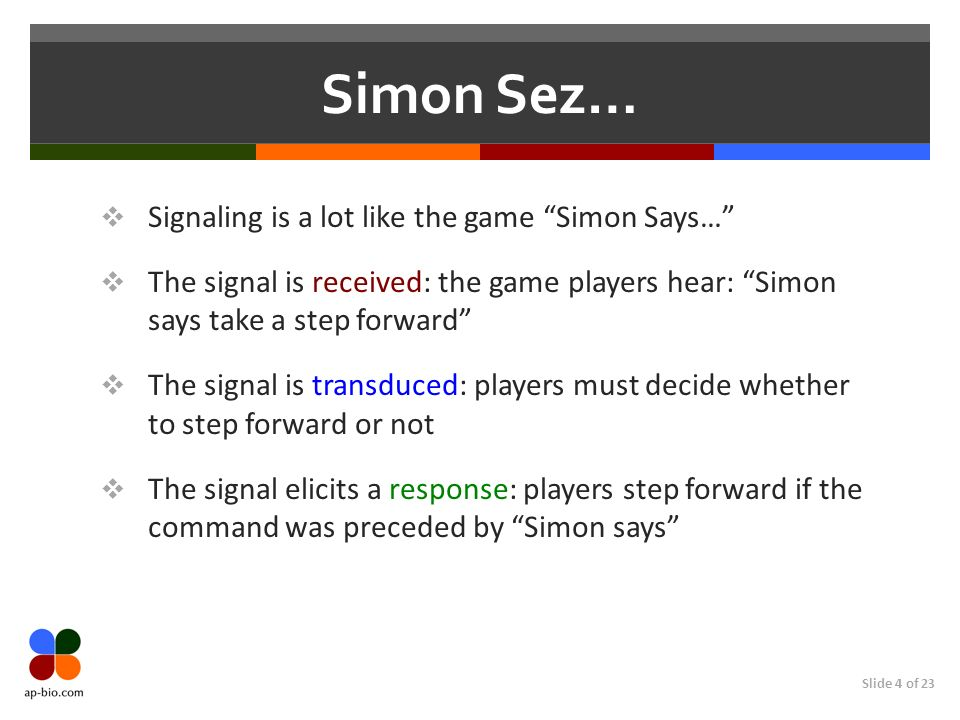 Slide 4 of 23 Simon Sez… Signaling is a lot like the game Simon Says… The signal is received: the game players hear: Simon says take a step forward Th