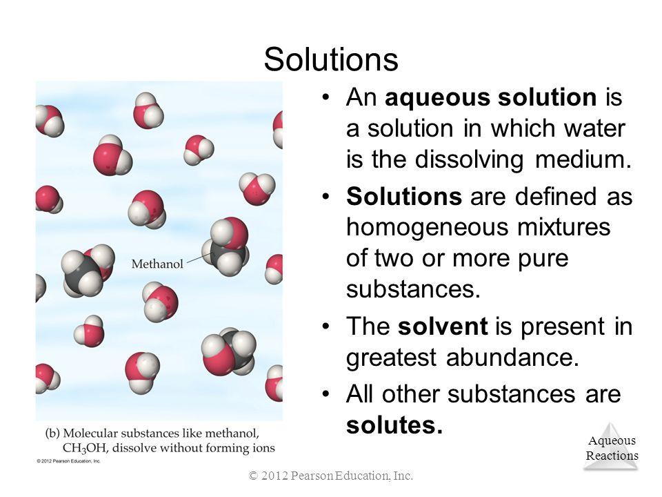 Aqueous Reactions Acids Ionizable Hydrogens © 2012 Pearson Education, Inc.