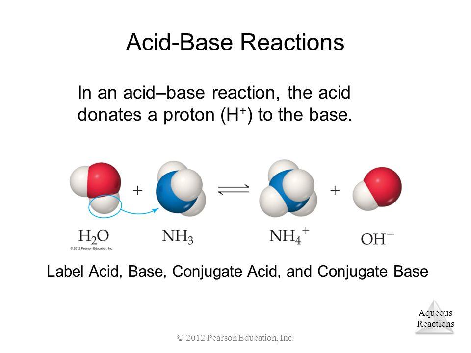 Aqueous Reactions © 2012 Pearson Education, Inc. Acid-Base Reactions In an acid–base reaction, the acid donates a proton (H + ) to the base. Label Aci