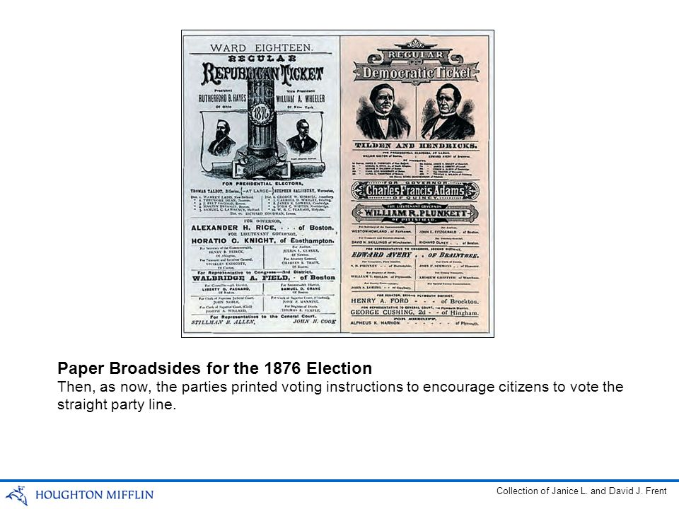 Then, as now, the parties printed voting instructions to encourage citizens to vote the straight party line. Paper Broadsides for the 1876 Election Co