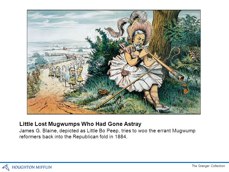 James G. Blaine, depicted as Little Bo Peep, tries to woo the errant Mugwump reformers back into the Republican fold in 1884. Little Lost Mugwumps Who