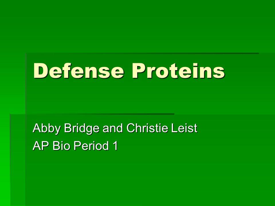 Defense Proteins Abby Bridge and Christie Leist AP Bio Period 1