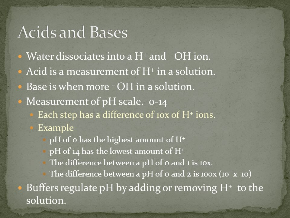 Water dissociates into a H + and – OH ion. Acid is a measurement of H + in a solution.