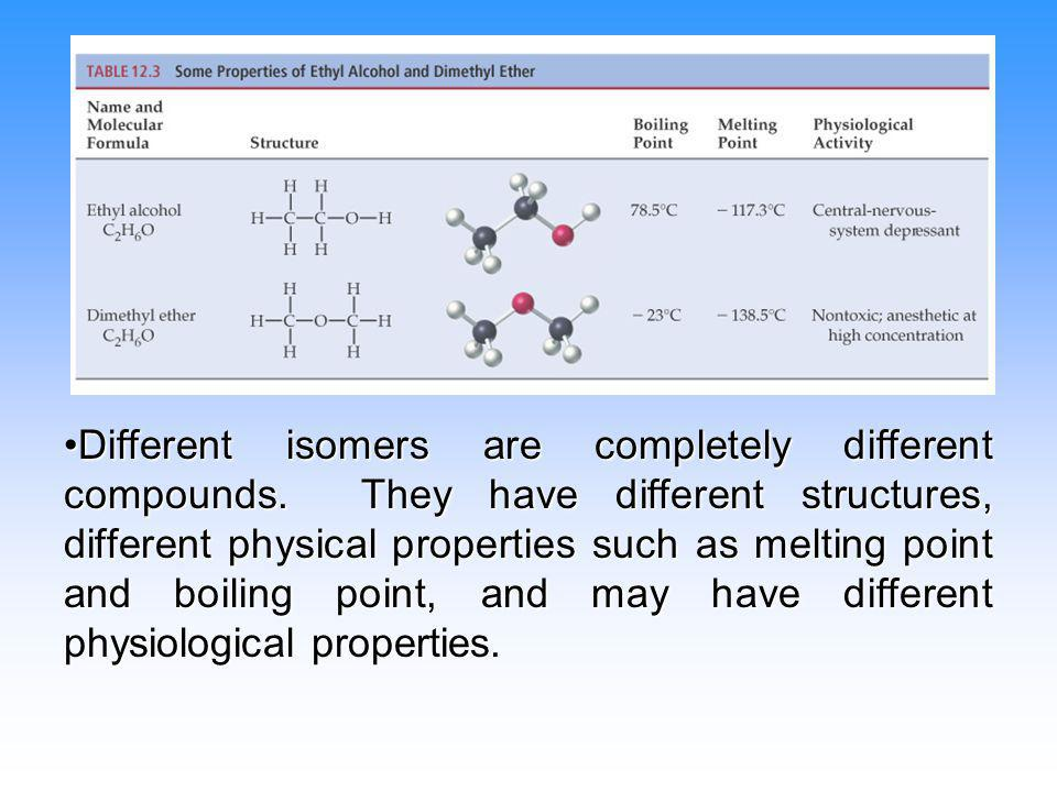 Different isomers are completely different compounds. They have different structures, different physical properties such as melting point and boiling