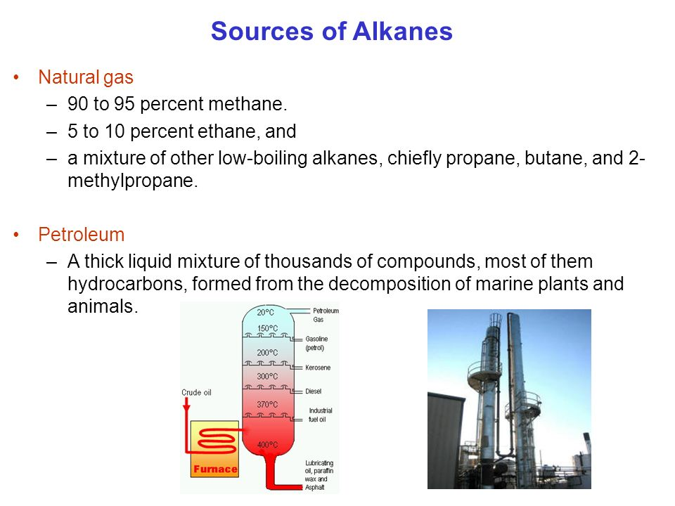 Natural gas –90 to 95 percent methane. –5 to 10 percent ethane, and –a mixture of other low-boiling alkanes, chiefly propane, butane, and 2- methylpro