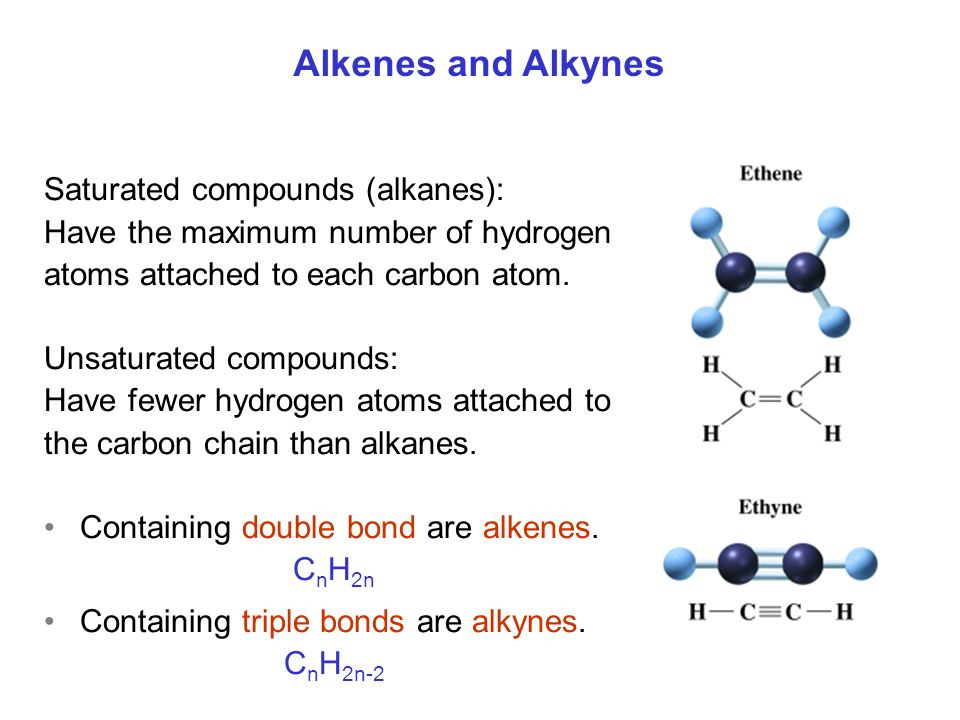 Saturated compounds (alkanes): Have the maximum number of hydrogen atoms attached to each carbon atom. Unsaturated compounds: Have fewer hydrogen atom