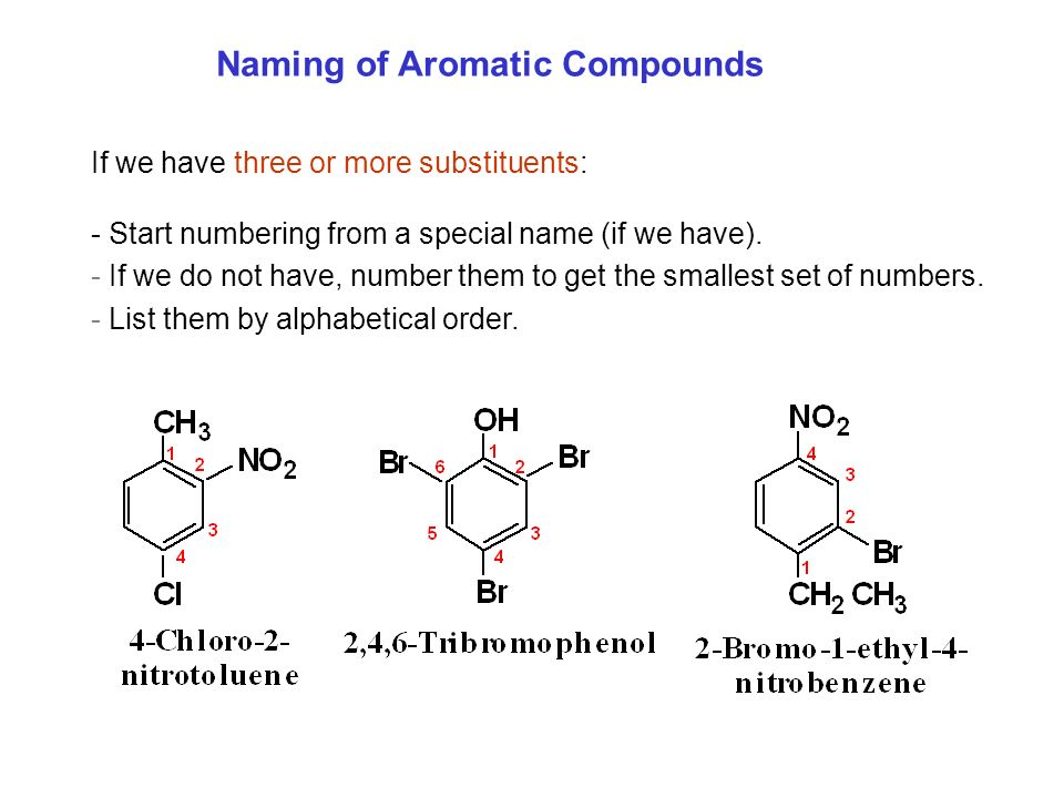 Naming of Aromatic Compounds If we have three or more substituents: - Start numbering from a special name (if we have). - If we do not have, number th