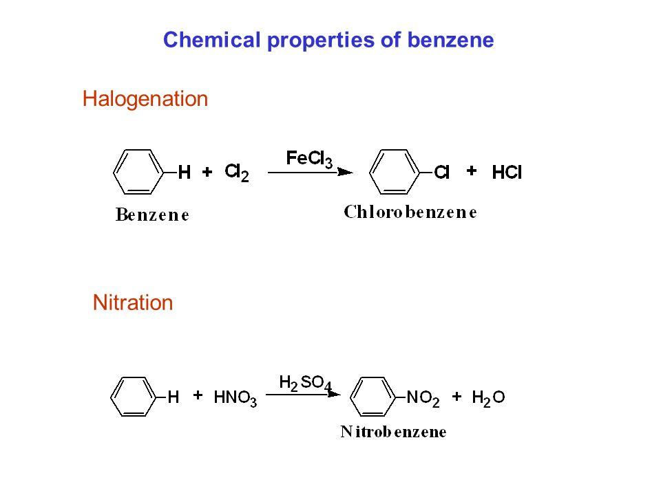 Chemical properties of benzene Halogenation Nitration
