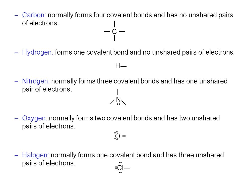 –Carbon: normally forms four covalent bonds and has no unshared pairs of electrons. –Hydrogen: forms one covalent bond and no unshared pairs of electr