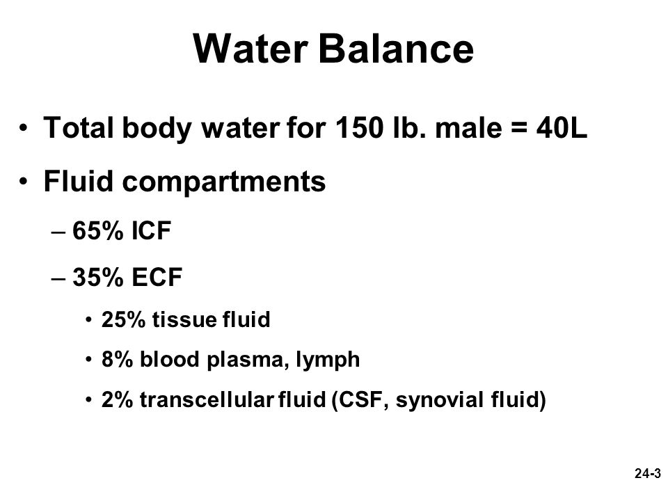 24-3 Water Balance Total body water for 150 lb. male = 40L Fluid compartments –65% ICF –35% ECF 25% tissue fluid 8% blood plasma, lymph 2% transcellul