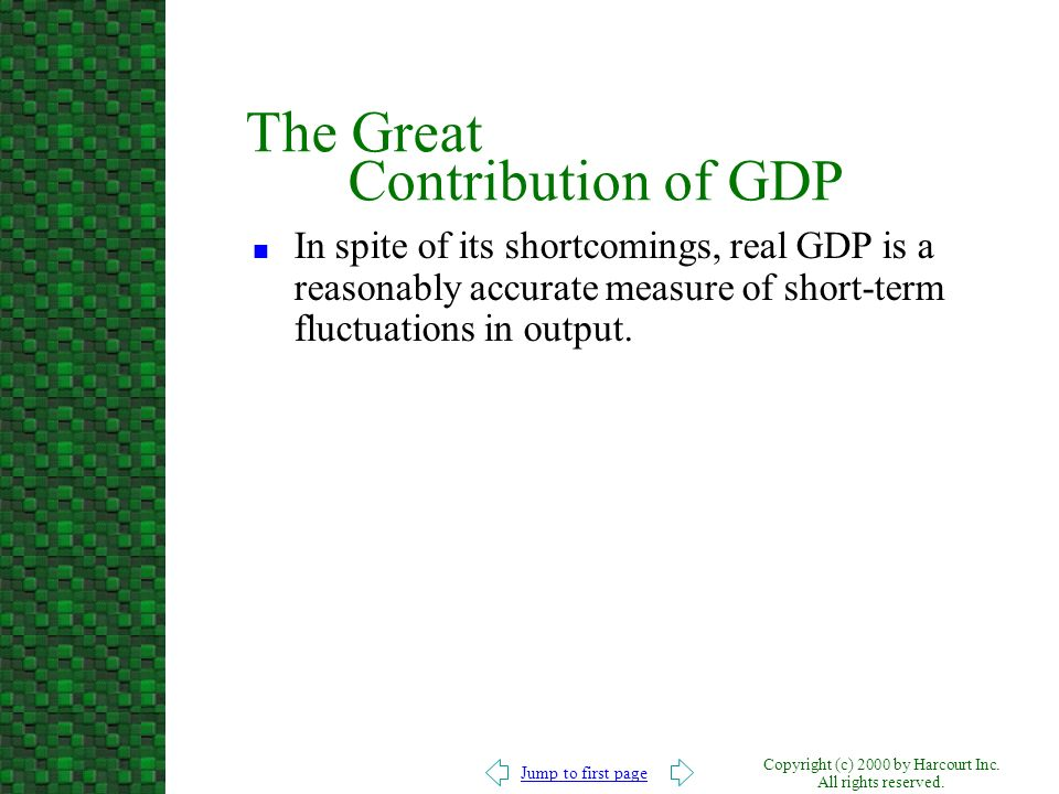 Jump to first page Copyright (c) 2000 by Harcourt Inc. All rights reserved. The Great Contribution of GDP n In spite of its shortcomings, real GDP is