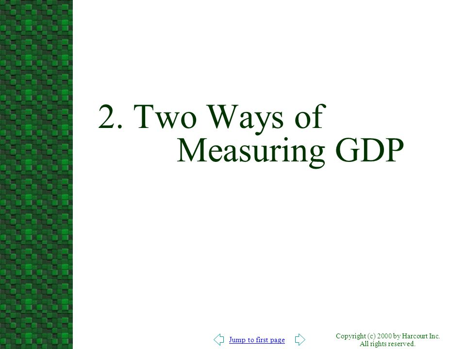 Jump to first page Copyright (c) 2000 by Harcourt Inc. All rights reserved. 2. Two Ways of Measuring GDP