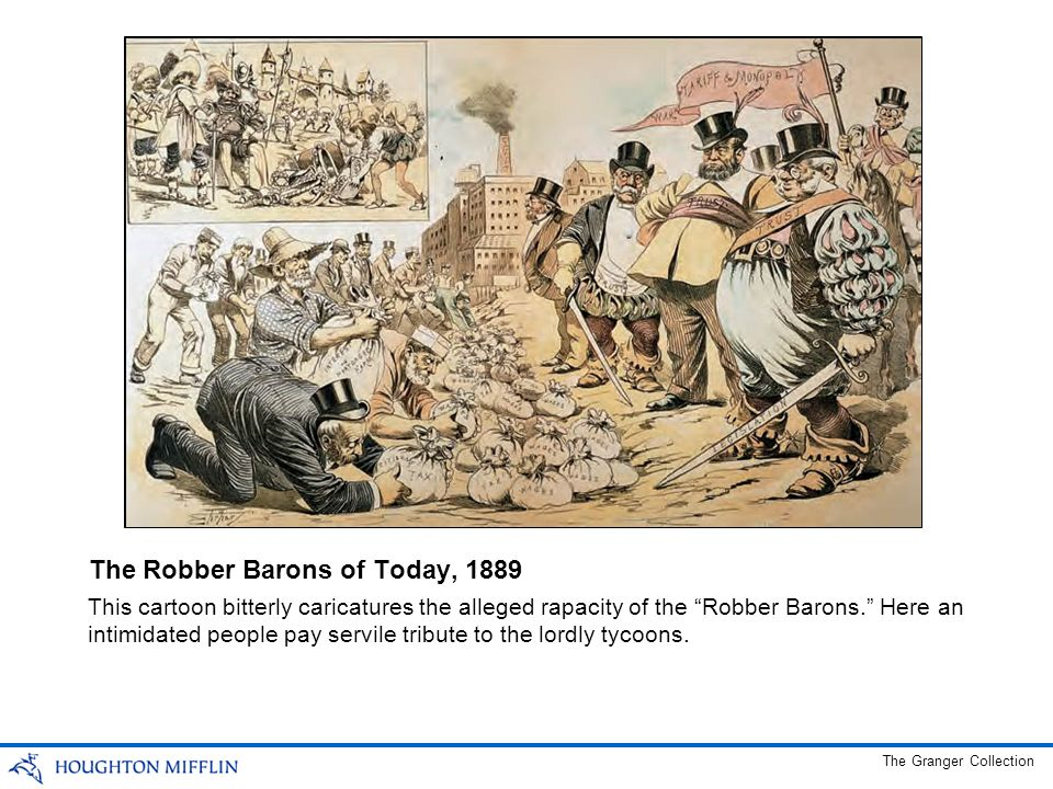 This cartoon bitterly caricatures the alleged rapacity of the Robber Barons.
