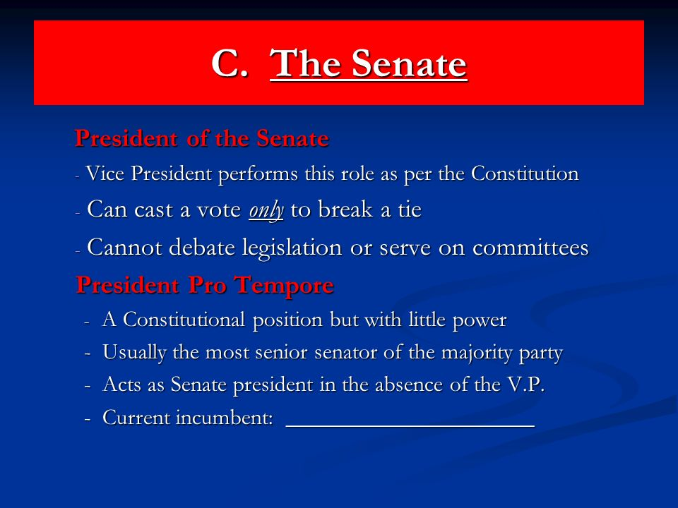 C. The Senate President of the Senate President of the Senate - Vice President performs this role as per the Constitution - Can cast a vote only to br