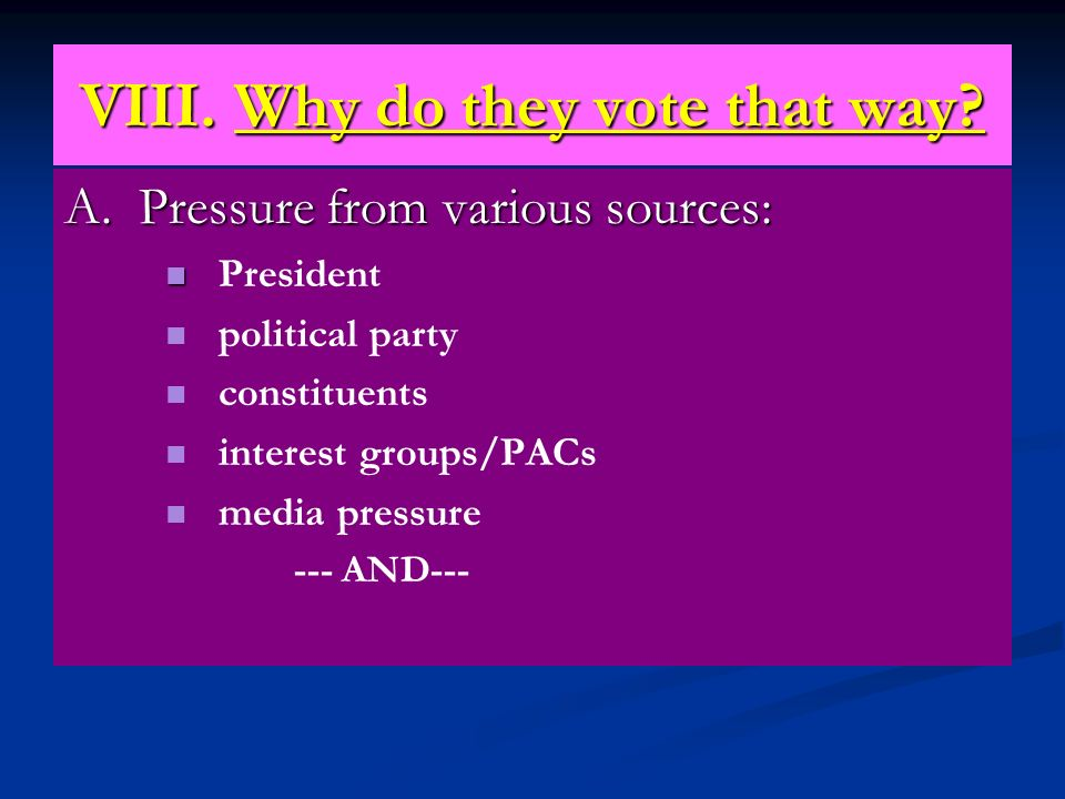 VIII. Why do they vote that way? A. Pressure from various sources: President political party constituents interest groups/PACs media pressure --- AND-
