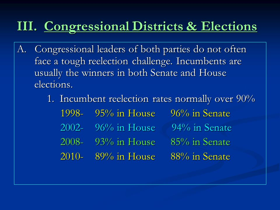 III. Congressional Districts & Elections A. Congressional leaders of both parties do not often face a tough reelection challenge. Incumbents are usual