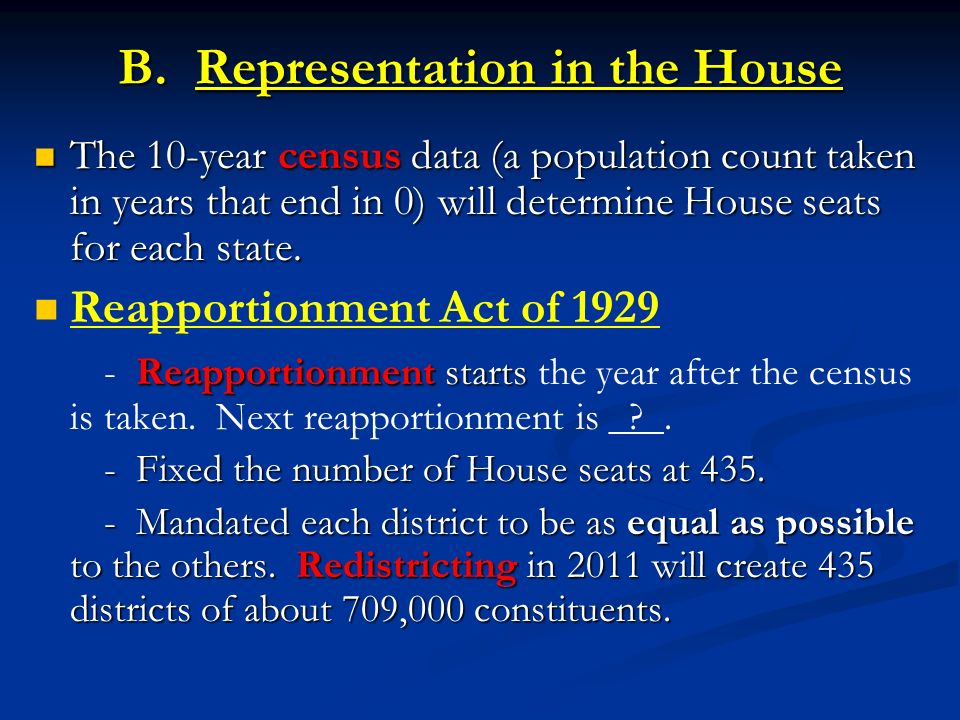 B. Representation in the House The 10-year census data (a population count taken in years that end in 0) will determine House seats for each state. Th