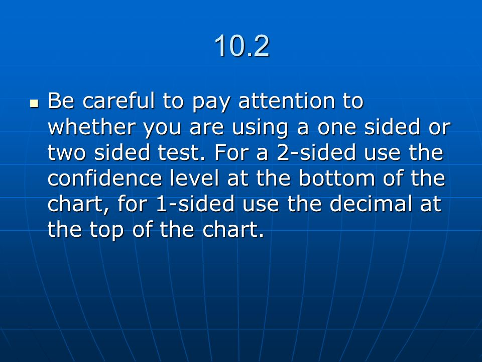 10.2 Be careful to pay attention to whether you are using a one sided or two sided test. For a 2-sided use the confidence level at the bottom of the c
