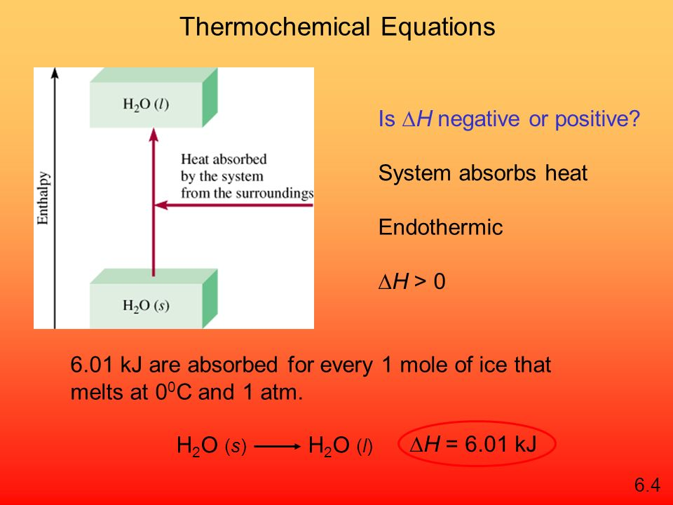 Enthalpy (H) is used to quantify the heat flow into or out of a system in a process that occurs at constant pressure. H = H (products) – H (reactants)