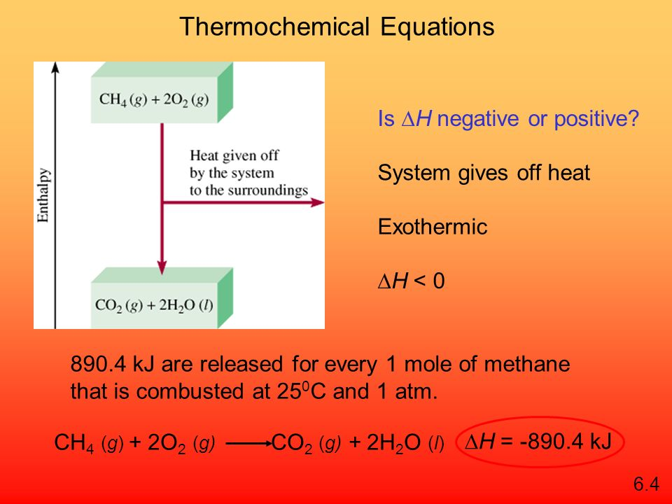 Thermochemical Equations CH 4 (g) + 2O 2 (g) CO 2 (g) + 2H 2 O (l) H = -890.4 kJ Is H negative or positive.