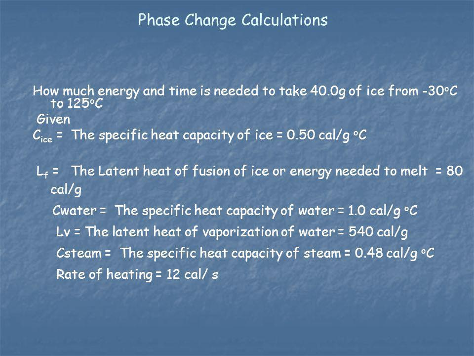 Phase Change Calculations How much energy and time is needed to take 40.0g of ice from -30 o C to 125 o C Given C ice = The specific heat capacity of
