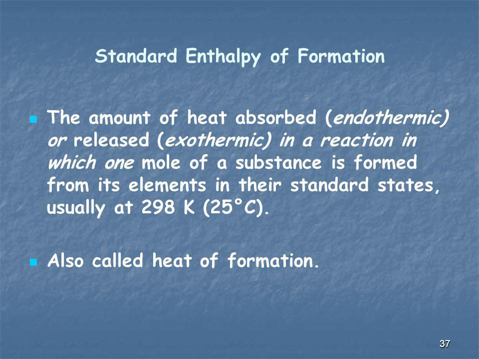 Standard Enthalpy of Formation The amount of heat absorbed (endothermic) or released (exothermic) in a reaction in which one mole of a substance is fo