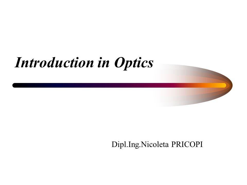 Introduction in Optics Dipl.Ing.Nicoleta PRICOPI