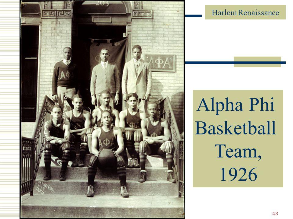 Harlem Renaissance 48 Alpha Phi Alpha Basketball Team, 1926 Alpha Phi Basketball Team, 1926