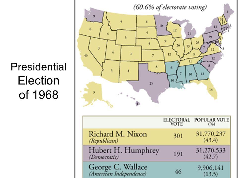 DEEP DIVISIONS AT HOME: Election of 1968 Eugene McCarthy LBJ Robert Kennedy Hubert Humphrey Democratic Convention - Chicago Richard M. Nixon – silent