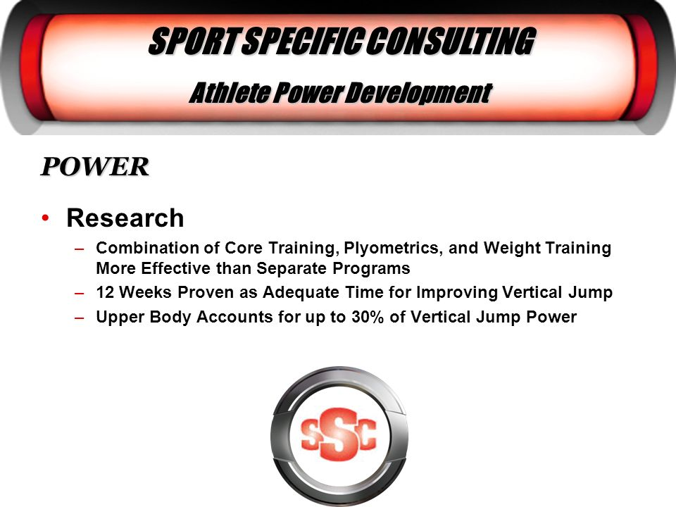 SPORT SPECIFIC CONSULTING Athlete Power Development POWER Research –Combination of Core Training, Plyometrics, and Weight Training More Effective than
