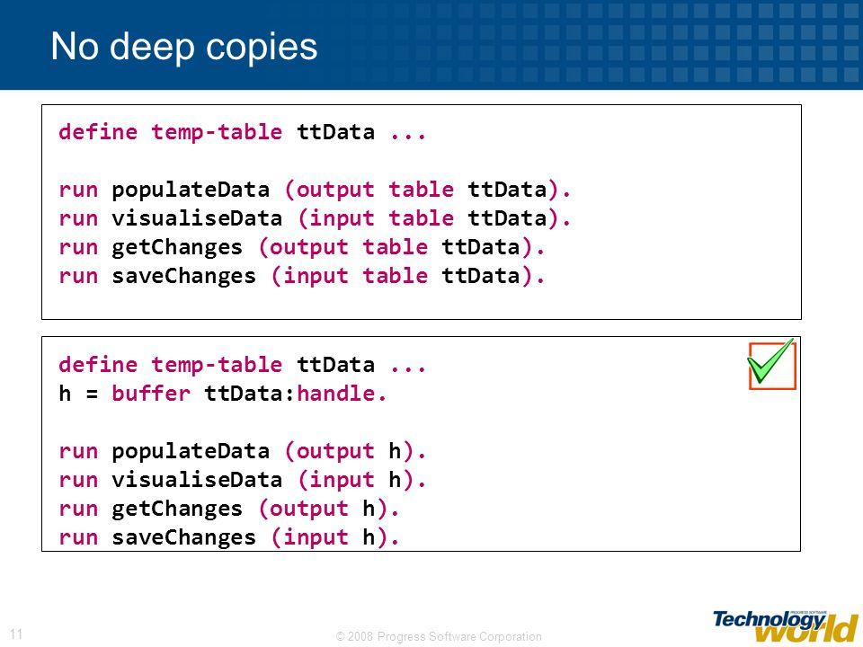 © 2008 Progress Software Corporation 11 No deep copies define temp-table ttData...