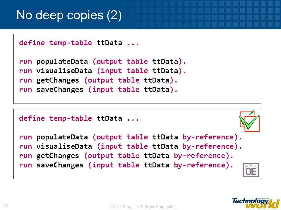 © 2008 Progress Software Corporation 12 No deep copies (2) define temp-table ttData...