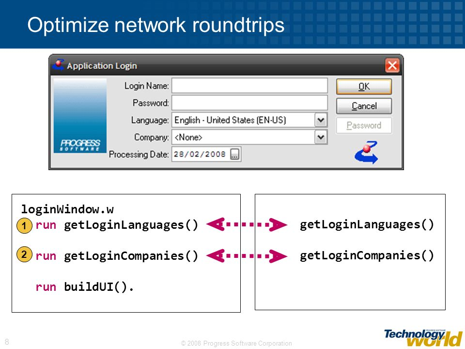 © 2008 Progress Software Corporation 8 Optimize network roundtrips getLoginLanguages() getLoginCompanies() loginWindow.w run getLoginLanguages() run getLoginCompanies() run buildUI().