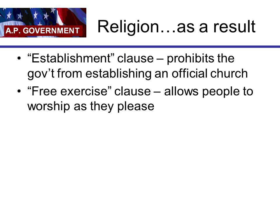 Religion…as a result Establishment clause – prohibits the govt from establishing an official church Free exercise clause – allows people to worship as