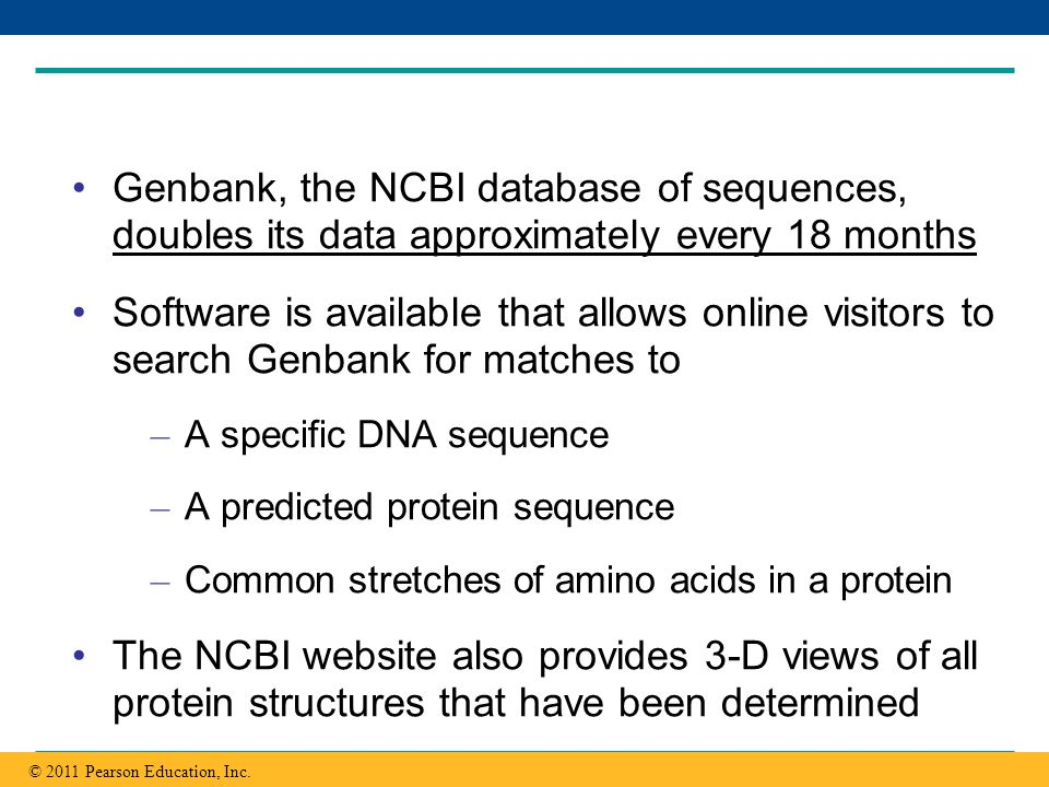 Copyright © 2005 Pearson Education, Inc. publishing as Benjamin Cummings Genbank, the NCBI database of sequences, doubles its data approximately every