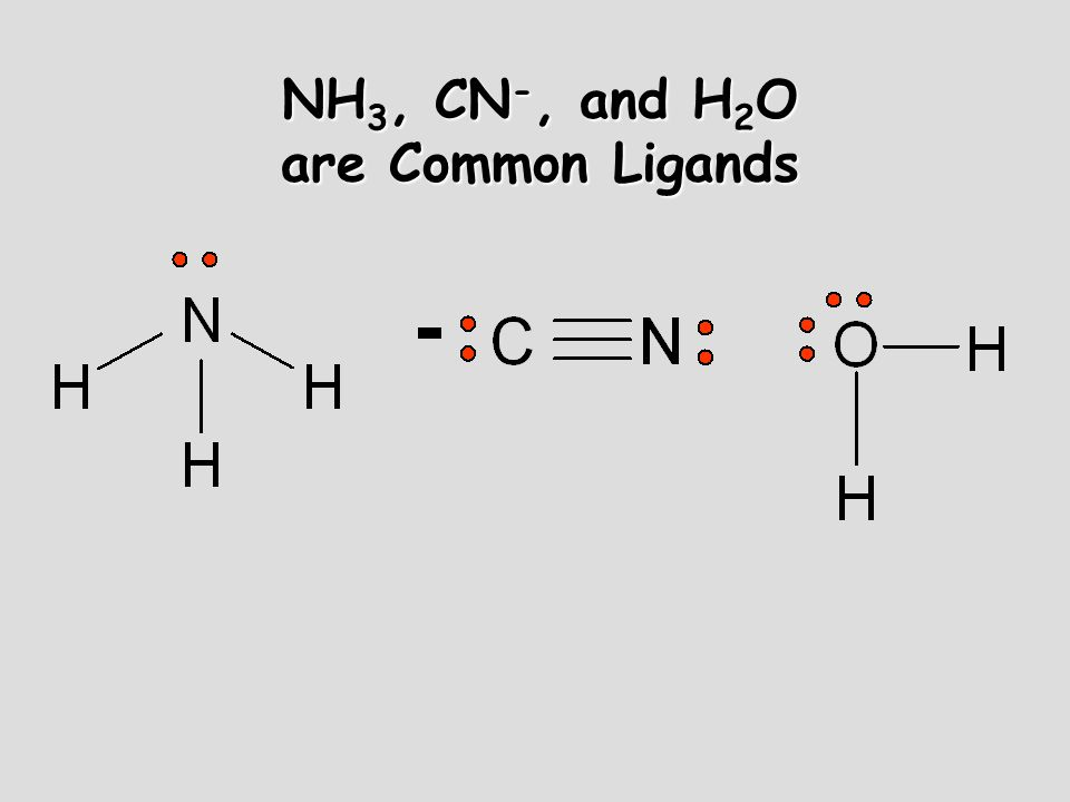 NH 3, CN -, and H 2 O are Common Ligands