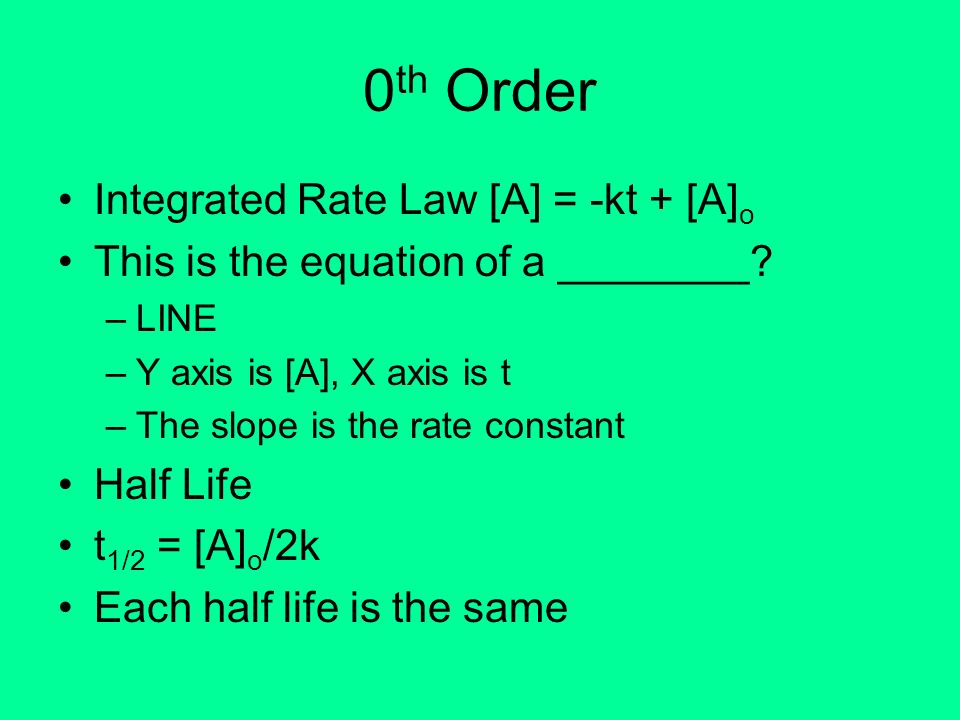 0 th Order Integrated Rate Law [A] = -kt + [A] o This is the equation of a ________? –LINE –Y axis is [A], X axis is t –The slope is the rate constant