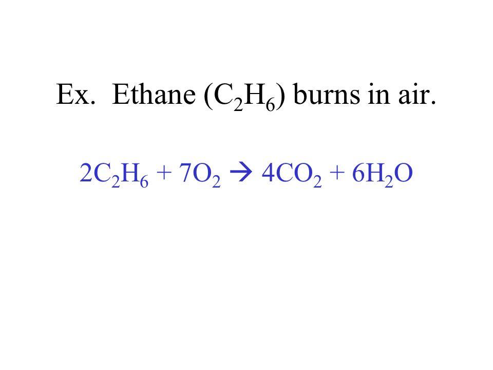 Ex. Ethane (C 2 H 6 ) burns in air. 2C 2 H 6 + 7O 2 4CO 2 + 6H 2 O