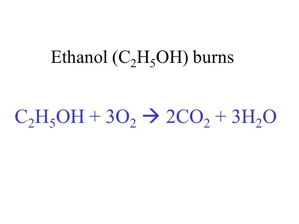 Ethanol (C 2 H 5 OH) burns C 2 H 5 OH + 3O 2 2CO 2 + 3H 2 O