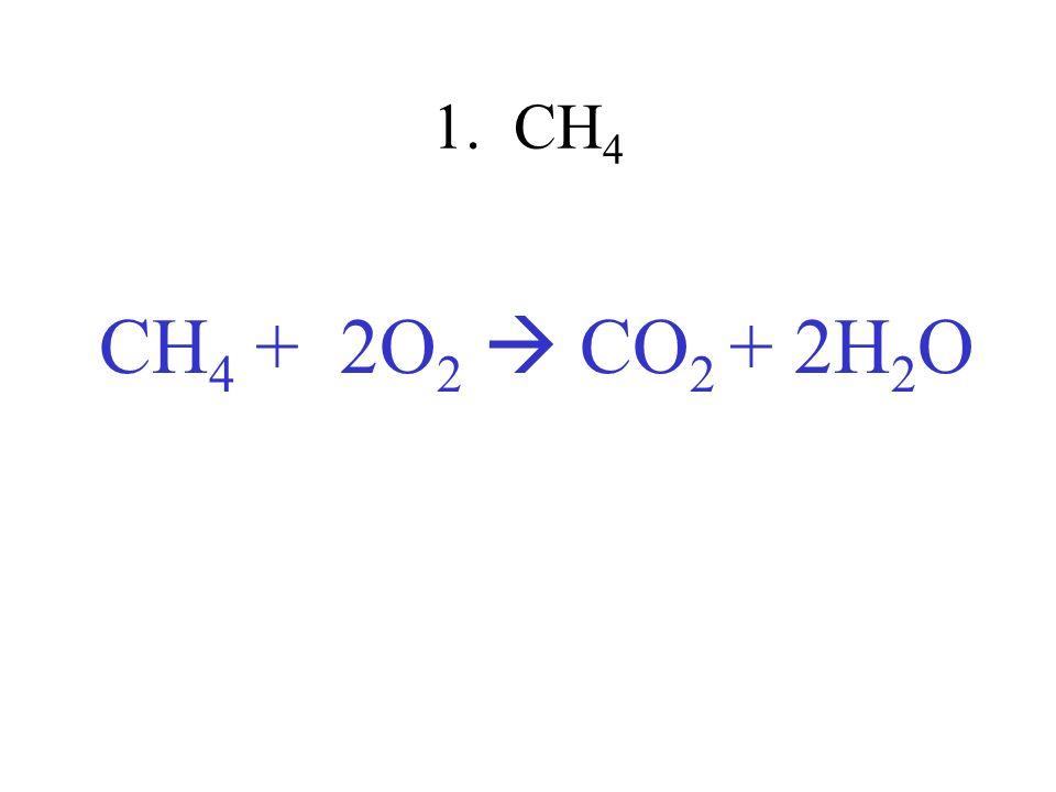 1. CH 4 CH 4 + 2O 2 CO 2 + 2H 2 O