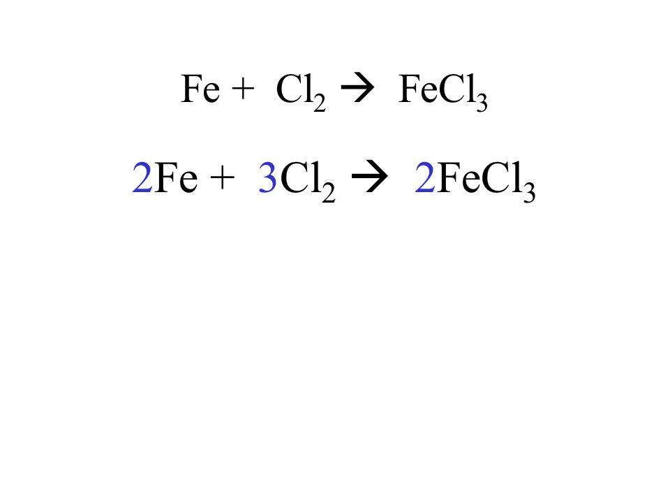 Fe + Cl 2 FeCl 3 2Fe + 3Cl 2 2FeCl 3