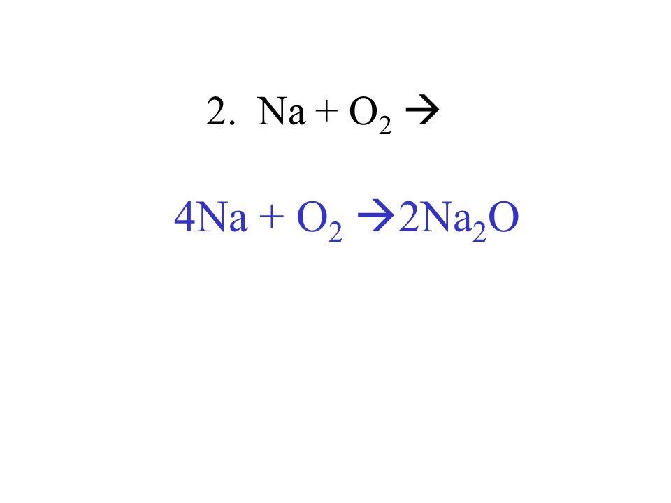 2. Na + O 2 4Na + O 2 2Na 2 O