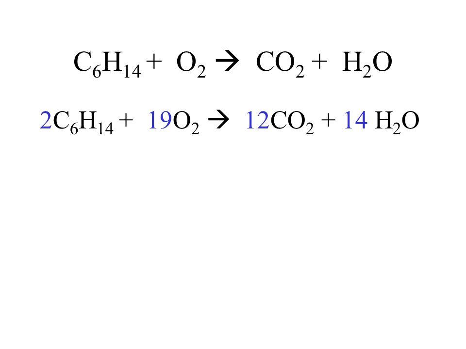 C 6 H 14 + O 2 CO 2 + H 2 O 2C 6 H 14 + 19O 2 12CO 2 + 14 H 2 O