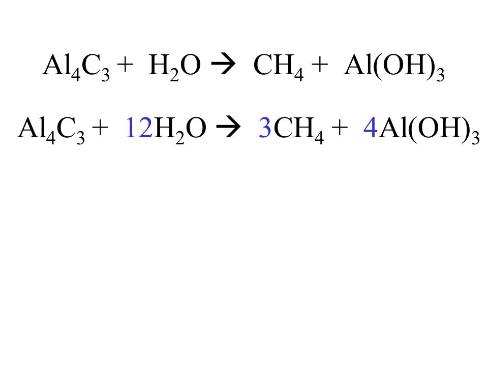 Al 4 C 3 + H 2 O CH 4 + Al(OH) 3 Al 4 C 3 + 12H 2 O 3CH 4 + 4Al(OH) 3