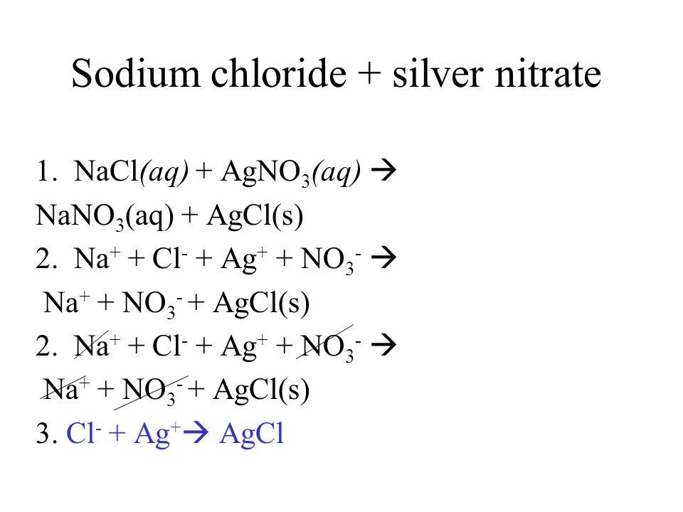 Sodium chloride + silver nitrate 1. NaCl(aq) + AgNO 3 (aq) NaNO 3 (aq) + AgCl(s) 2. Na + + Cl - + Ag + + NO 3 - Na + + NO 3 - + AgCl(s) 2. Na + + Cl -